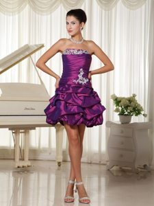 Eggplant Purple Ruched Prom Dress With Appliques and Pick-ups