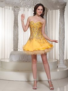 Mini-length Gold Sweetheart Beaded Prom Dress with Layers 2013
