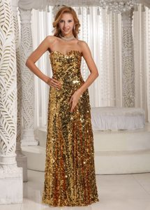 Gold Discount Paillette Over Skirt Prom Dress with Sweetheart