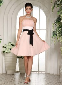Knee-length Baby Pink Black Sash Prom Dress for Cheap in USA