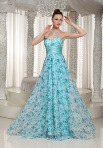 Printing Blue Empire Sweetheart Prom Dress Sashed under 150