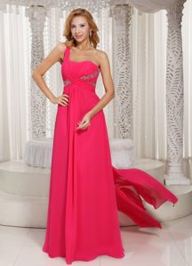 Chiffon One Shoulder Beaded Prom Dress With Watteau Train 2013