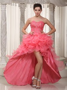 Watermelon Sweetheart High-low Beading Prom Dress with Ruffles