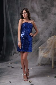 Peacock Blue Beading Mini-length Strapless Sequined Prom Gown