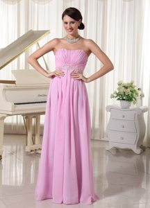Baby Pink Sweetheart Chiffon Ruched Prom Dress With Appliques