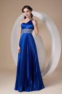 One Shoulder Royal Blue Pleated Prom Dress with Beading 2013