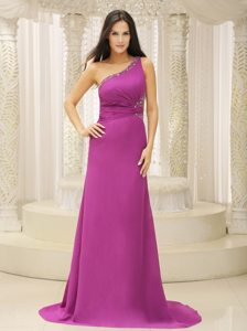 One Shoulder Fuchsia Brush Chiffon Prom Dress with Beadings