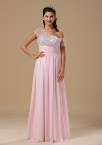 Baby Pink Asymmetrical Chiffon Prom Dress with Short Sleeves