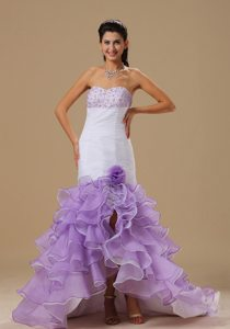 Two-toned Mermaid Beaded Hand Made Flower Ruffled Prom Dress