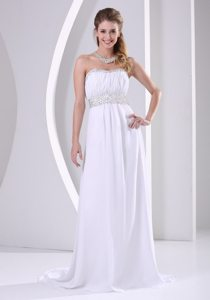 White Beaded Sweep Train Chiffon Prom Formal Dress under 150