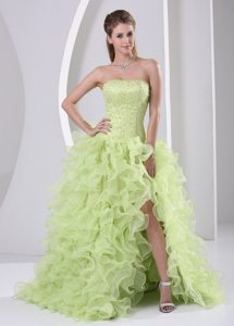 Yellow Green Organza High Slit Beaded Prom Dresses Ruffled