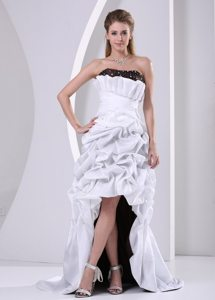 Cheap High-low Beaded Taffeta White Prom Dress With Pick-ups