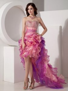 High-low Ruffled Colorful Sweetheart Prom Dress with Beading