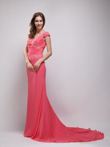 2013 Chiffon V-neck Coral Red Brush Prom Dress with Appliques