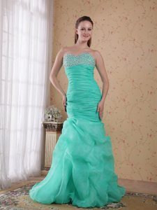 Turquoise Sweetheart Beads Ruched Prom Gown with Pick-ups