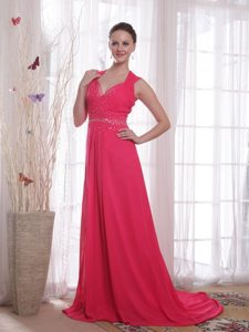 V-neck Chiffon Coral Red Empire Brush Beaded Prom Party Dress