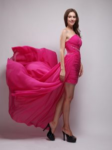 Chiffon Hot Pink Asymmetrical Ruche Prom Evening Dress Beaded