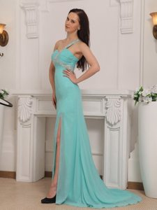 Chiffon One Shoulder Column High Slit Beaded Prom Gown Dress