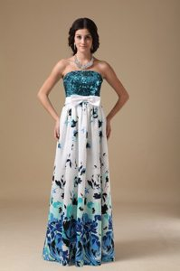 Printing Sequin Multi-color Celebrity Prom Dresses with Bowknot