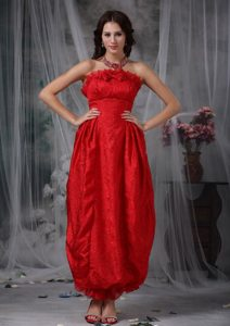 Bright Red Organza Ankle-length Prom Bridesmaid Dresses with Bowknot