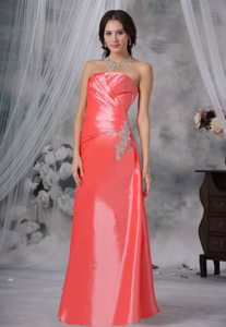 Appliques Lace Back Watermelon Red Ruched Taffeta Prom Evening Dress