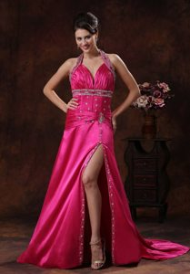 High Slit Hot Pink Halter Beaded Ruching Graduation Prom Dresses