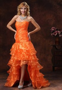 Ruffled Layers High-low Ruched Orange Red Organza Maxi Prom Dress