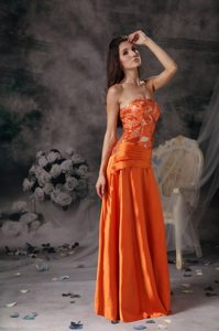 Brand New Discount Beading Taffeta Orange Red Prom Pageant Dresses