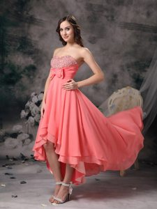 High-low Watermelon Red Beading Homecoming Prom Dress with Bows