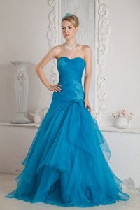 Ruched Brush Train Teal Tulle Appliques Graduation Prom Dresses