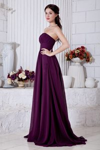 Dark Purple Strapless Ruched Chiffon Brush Train Prom Holiday Dress