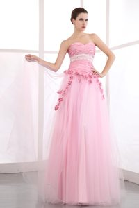 Pink Appliques Sweetheart Homecoming Prom Dress with Hand Flowers