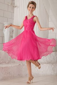 Pleated Hot Pink Organza Homecoming Prom Dresses with Wide Straps