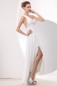 High-low Appliques One Shoulder White Chiffon Evening Prom Dress