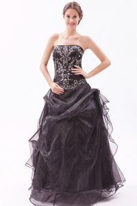 Appliques Beading Black Organza Prom Dama Dresses For Quinceanera