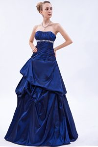Royal Blue Beading Ruched Taffeta Prom Dama Dresses with Pick-ups