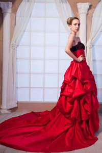 Lace Beading Red Taffeta Prom Graduation Dress with Chapel Train