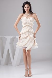 Ruffles Cream Colored Organza Prom Cocktail Dresses with Flowers