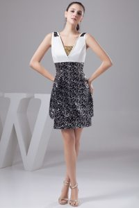 White and Black V-neck Beading Taffeta Short Prom Nightclub Dress