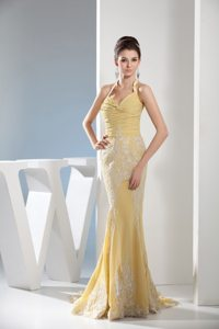 Mermaid Halter Appliques Gold Ruching Chiffon Holiday Prom Dress