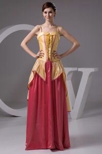 Yellow and Watermelon Ruffles Prom Dress with Spaghetti Straps