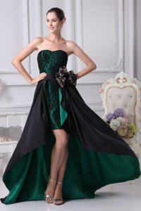 Lace Black and Green Bowknot High-low Homecoming Prom Dresses