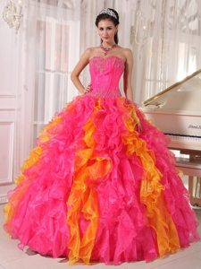 Colorful Sequins Sweetheart Ruffled Floor-length Organza Quinceanera Gown