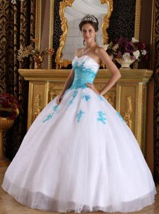 Organza Sweetheart Appliques White and Blue Lace Up Back Dresses 15