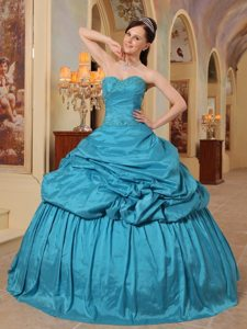 Teal Beading Pick-up Sweetheart Lace Up Back Taffeta Quinceanera Dress