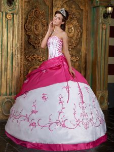Embroidery Strapless Lace Up Back Satin Fuchsia Quinceanera Dresses