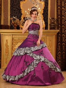 Taffeta Embroidery Strapless Fuchsia Quinceanera Gown with Zebra Print