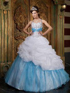 Halter Beading Pick Ups Floor-length White and Blue Sweet 15 Dresses