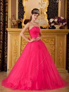 Beading Strapless Appliques Layers Tulle Hot Pink Quinceanera Gowns