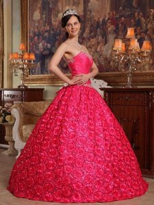 Rolling Flowers Fabric Appliques Strapless Coral Red Quinceanera Dress